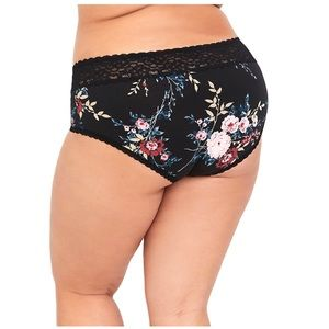 Torrid 4X Floral Wide Lace Cotton Cheeky Panty NWT